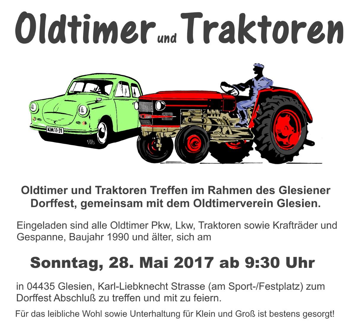 Oldtimer und Traktoren zum Dorffest Glesien, 28.5.2017